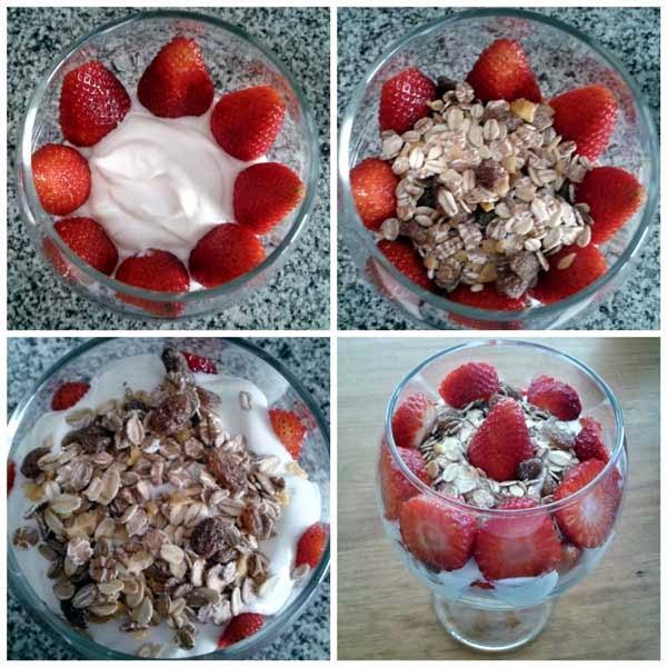 Trifle de yogur, fruta y muesli